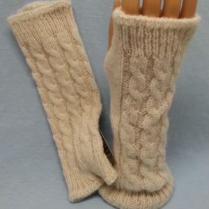 Cable or Pointelle Alpaca Fur Wrist Warmers