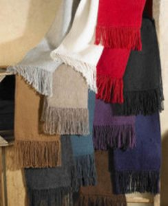 Colorful Woven Alpaca Scarves with Fringe